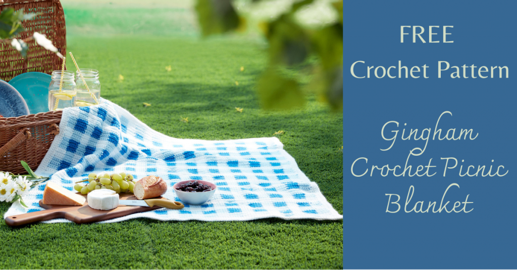 I love Yarn Forever Featured Image_Gingham Crochet Picnic Blanket Pattern