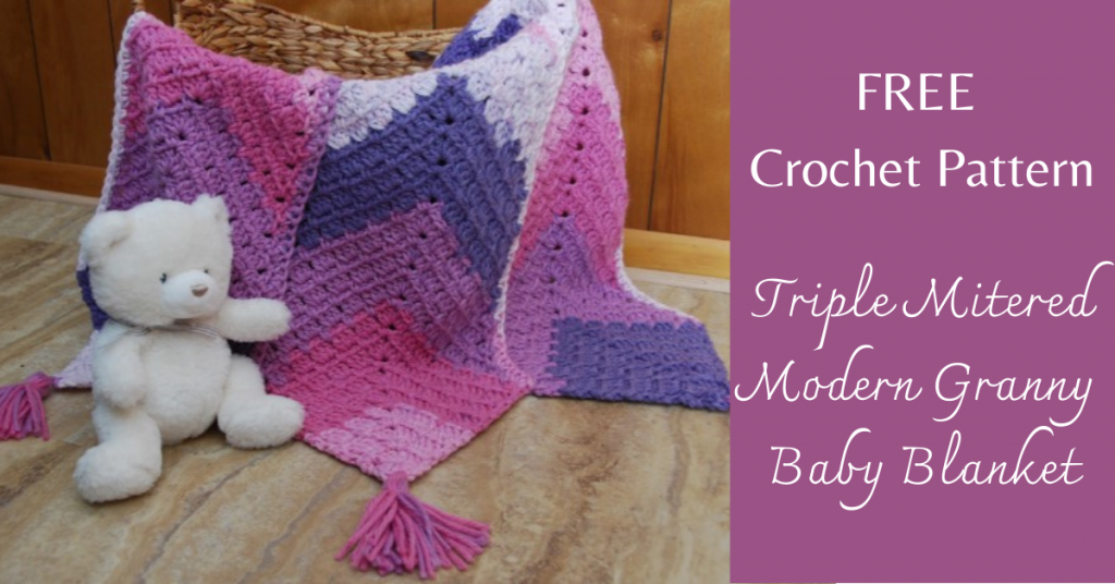 I love Yarn Forever Featured Image_Triple Mitered Modern Granny Baby Blanket crochet pattern