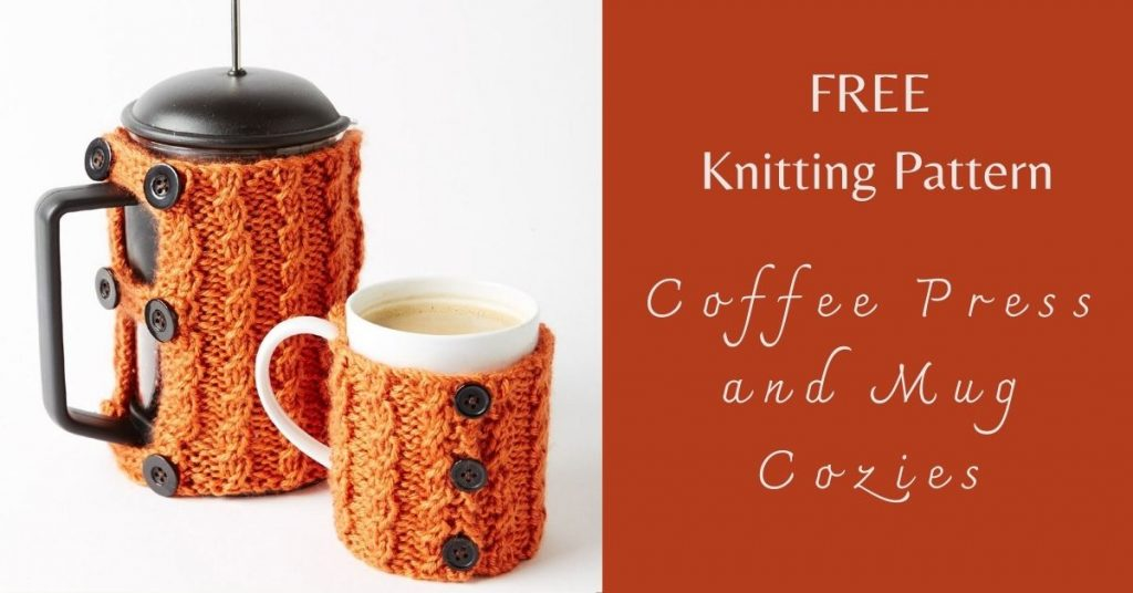 I love Yarn Forever Featured Image_Knitting Pattern Coffee Press and Mug Cozies
